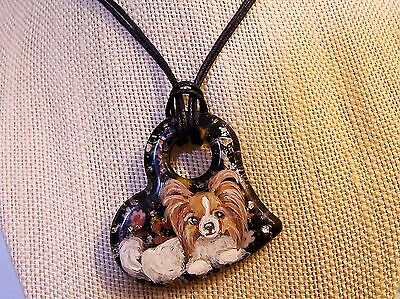 "Papillon Valentine hand painted Italian Glass 18"" heart pendant necklace"