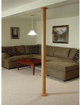 Pole-Wrap 96 in. x 12 in. MDF Basement Fluted Column Cover Interior Decor New