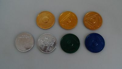 9 Alcoholics Anonymous  Coin / Medallion Tokens