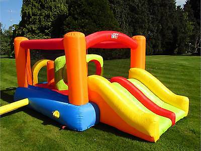 BeBop Obstacle Challenge Kids Bouncy Castle and Childrens Double Slide