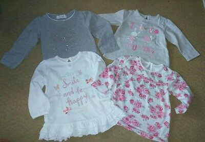 mixed bundle of 4 long sleeved baby girls tops 3-6 months