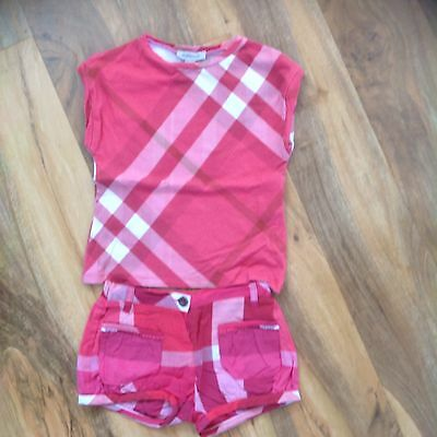 girls burberry shorts and tshirt set age 4