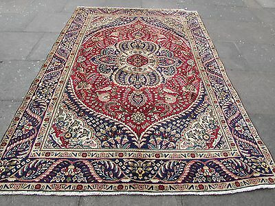Old Traditional Hand Made Persian Rug Oriental Wool Red Large Carpet 272x190cm