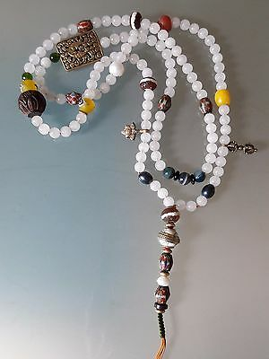 Buddhist White Jade 8MM Mala w/ Old Stripe Dzi Agate Guru Bead