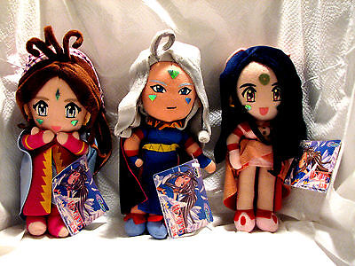 "Belldandy, Urd, & Skuld - Set of  Plush Dolls from ""Ah! My Goddess"" by Banpresto"