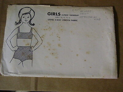 ANTIQUE PATTERN, NO NAME, GIRL'S 2-PIECE SWIMSUIT, SIZES 7,8,10,12,14. 1950s NEW