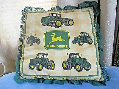 Vintage John Deere Advertising Pillow With Green Lace Edge