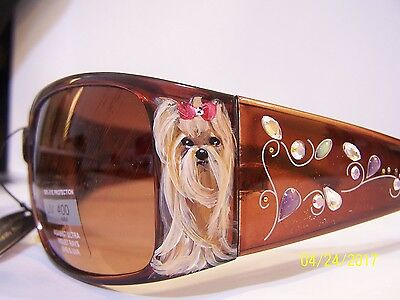 Yorkshire terrier hand painted special beaded sunglasses original dog art