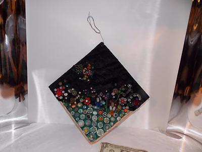 Vintage Button & Bead Folk Art 10 X 10 Plaque--On Black & Green Fabrics
