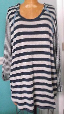 Motherhood Oh Baby Blue Striped Sweater Hoodie - Roll Sleeves - Size Large - Nwt