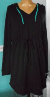 Motherhood Oh Baby Black Hoodie - Drawstring Elastic Waist - Size Medium - Nwt