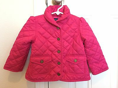 Polo Ralph Lauren Girls Size 24 Month Pink Quilted Coat Jacket Pockets Collar
