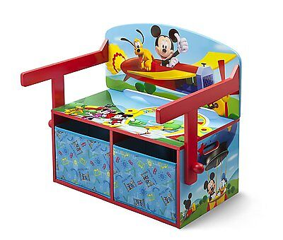Pupitre Cajonera Banco Niños Disney 3 en 1 Mickey Mouse Ideal Guardar Juguetes