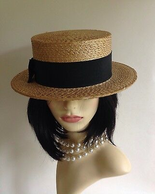 Vintage Traditional Good Quality English Straw Boater Hat Size 7 1/2 - 61 cms