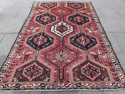 Old Traditional Hand Made Persian Rug Oriental Wool Pink Large Carpet 280x189cm