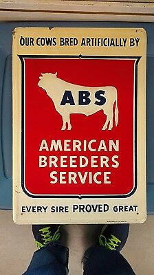 Vintage ABS American Breeders Service Sign Cattle Farm Artificial Insemination