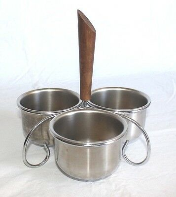 Vintage Mid Century Atomic Wood Handle Condiment Server 3 Stainless Steel Bowls