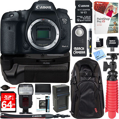 Canon EOS 7D Mark II DSLR Camera with Wi-Fi Adapter + 64GB Battery Grip Kit