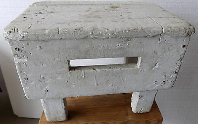 Primitive White Wood Stool WITH HAND GRIP SLOT  HEAVY ANTIQUE  (g5-11)