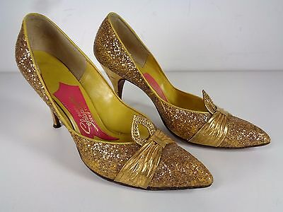 Vintage Schiaparelli Heels Pumps Gold Glitter Pin Up See Measurements Size 8