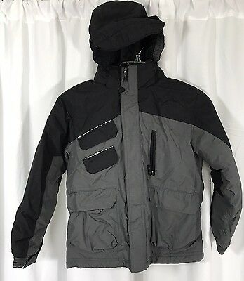 LL Bean Boys Thinsulate Insulated Hooded Winter Snow Ski Black Gray Jacket S / 8