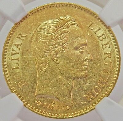 1875 Gold Venezuela 5 Venezolanos Simon Bolivar Coin Ngc About Uncirculated 53