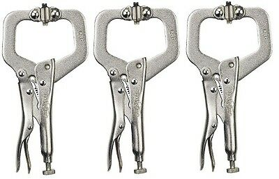 "Irwin Vise-Grip 6SP (18) 6"" Locking C Clamps with Swivel Pads (3 Pack)"