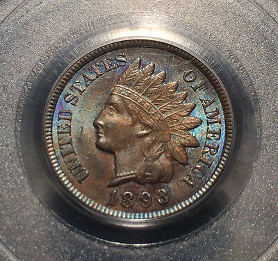 1893 PCGS MS64 Brown Indian Cent, glossy brown surfaces, iridescent color