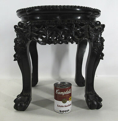 Qing Export China Trade Carved Blackwood Ebony Marble Table Stool Tabouret 3 yqz