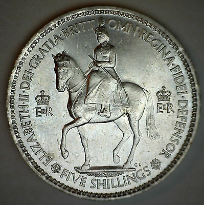 1953 Five Shillings Great Britain Crown KM# 894 Crown Size Coin #R