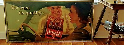 "1940's Coca Cola Sign Poster ""You Trust Its Quality!"" 56"" x 28"""