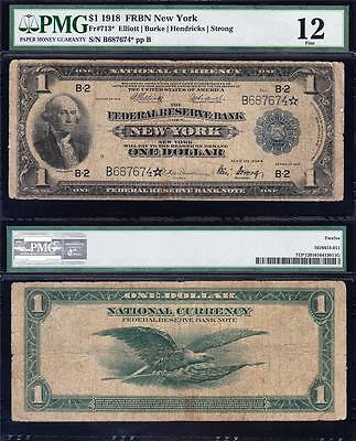 Nice RARE **STAR NOTE** 1918 $1 GREEN EAGLE FRBN! PMG 12! FREE SHIP! B687674*