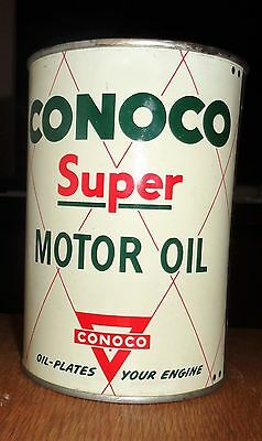1950's Full Conoco Super Motor Oil Can Quart Nice Solder Seem Gasoline