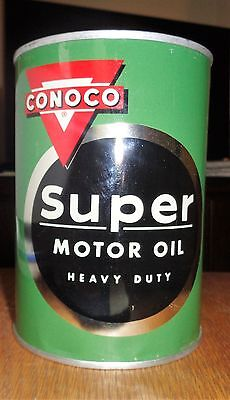Old Original CONOCO Super Motor Oil Full Metal Can Excellent Shape 1950's Rare