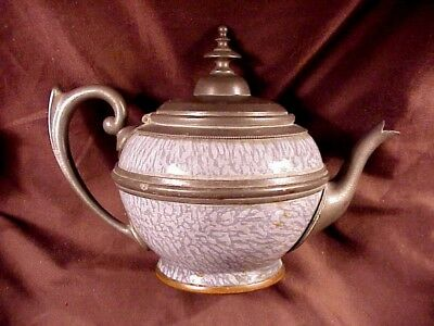 Early Granite Ware Teapot In Gray With Pewter/copper Trim Excellent Condititon