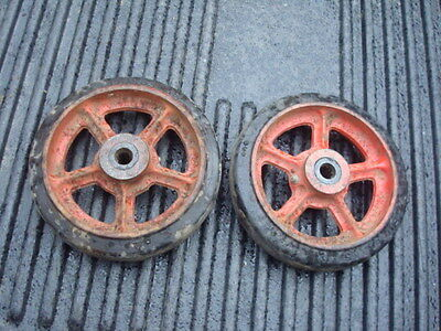 "Fairbanks Morse 8"" cast Iron Gas Engine Cart Wheels 5/8"" bore with rubber tread"