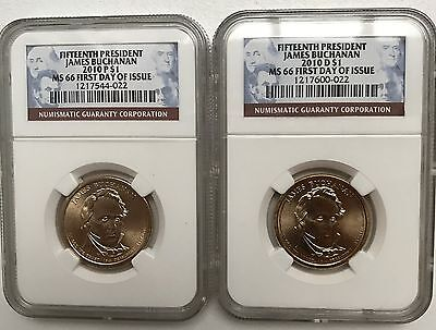2010 P & D James Buchanan Presidential Dollar - Both NGC MS 66 First Day of Iss