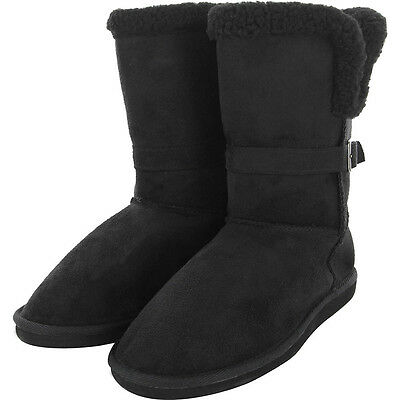 Womens Winter Warm Fur Boots Sheepskin Suede Mid Calf Fashion Shoes Black Size 6