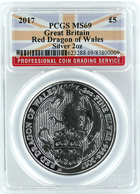 2017 Great Britain QUEEN'S BEAST £5 TWO Oz : PCGS : MS-69: Red Dragon of Wales