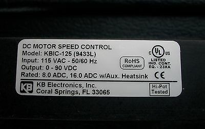 New IN BOX OCT 2015 KB DC Motor Speed Control KBIC-125 KB #9433L