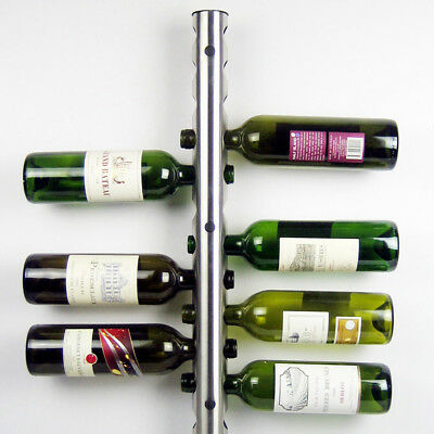 Stainless Wine Rack Bar Wall Mounted Kitchen Dining Tool 12 Bottles Holder
