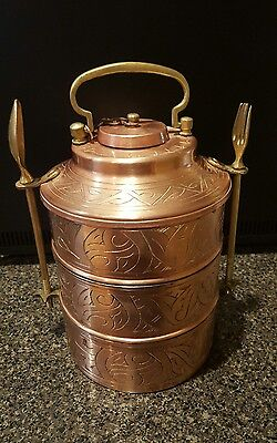 Vintage COPPER and BRASS Lunch Box Tiffin Box