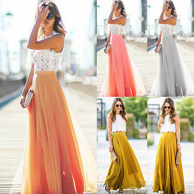 New Women Chiffo High Waist  Stretch Maxi Dress Skater Flared Pleated Long Skirt