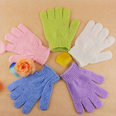 2pcs Exfoliating Body Scrub Gloves Shower Bath Mitt Loofah Massage Sponge Mystic