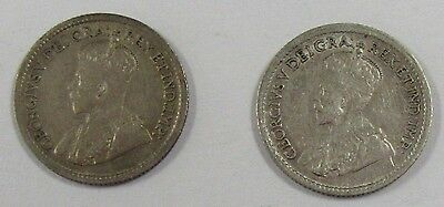 Lot of 2 1920 Canada Silver High Grade 5 Cent Pieces * Old Canadian Nickel