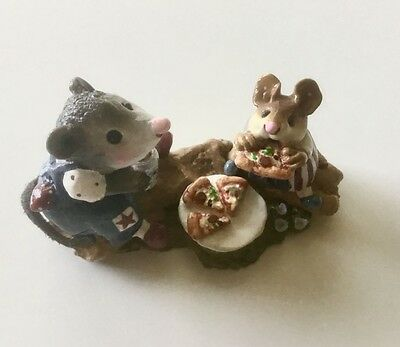 """Fourth of July Wee Forest Folks """"Miss Possum & Mousey Eating Pizza"""""""