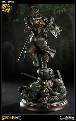 Sideshow Lord Of The Rings Gimli Polystone Statue - Exclusive With Orc Base Rare