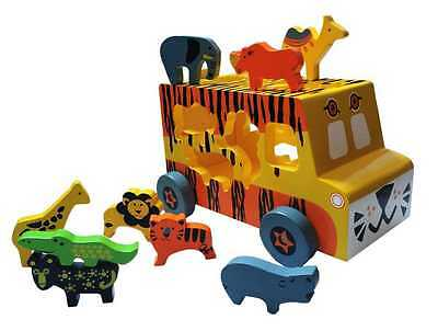Kaper Kidz Children's Wooden Coloured Safari Truck w Animal Block Toys