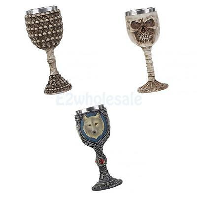 3pcs Gothic Skull Print Stainless Goblets Wine Beer Decorative Cup Pub Craft