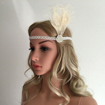Vintage White Beads 20s Headpiece 1920s 30s Gatsby Flappers Headband Feather